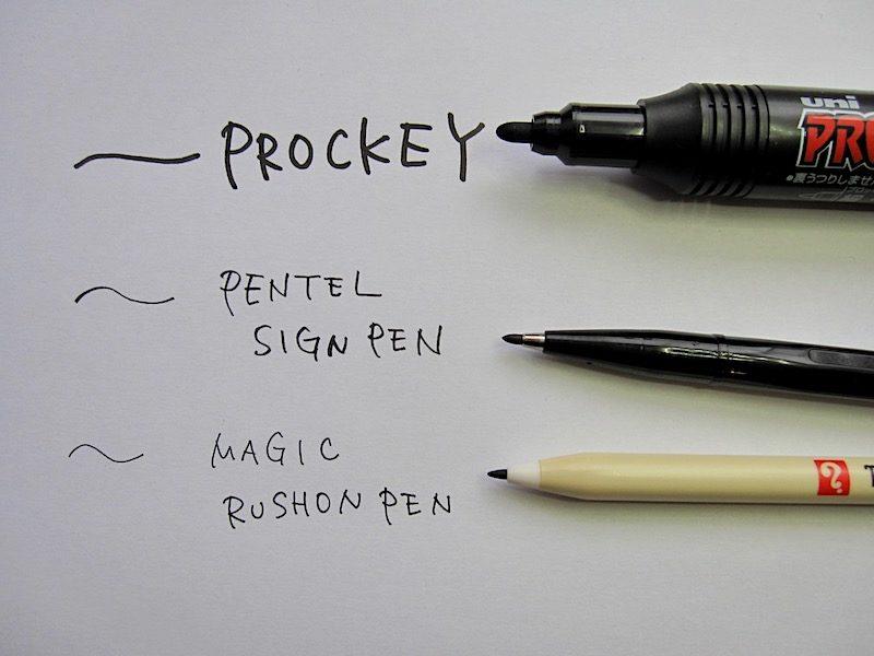 プロッキー、サインペン、ラッションペン書き比べ